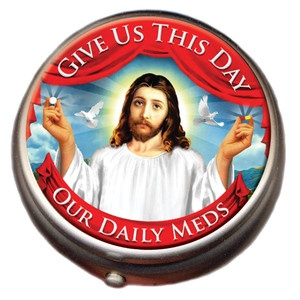 Now I might not find it tasteful. But I think this Jesus pill box is quite clever and pretty funny. Like to see stuff that don't take themselves too seriously.