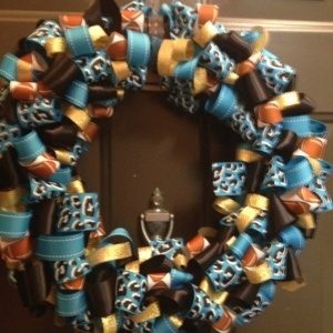 Now this is another ribbon wreath but it also has prints containing footballs and animal prints. Of course, this wreath was uploaded by a user and is most likely not for sale.