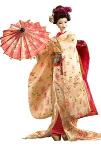 Okay, she looks like a geisha and I know what it is in Japan. However, I hope this doll comes with Samurai Ken. Love the parasol.