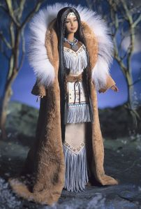Man, she seems to have rows and rose of fringes. But she also has a lovely trimmed buckskin coat trimmed with fur.