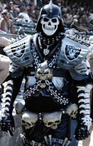 Yes, all decked out in his chains and armor, this skeleton warrior wants nothing more than to show support for his team and enjoy the game. Seems like a lot of Raiders fans have some outlandish costumes for some reason.