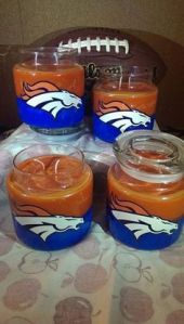 Now as to what a Denver Broncos candle might smell like is the question. Hope it's not of an actual Denver Bronco. Still, I'm sure the jars are hand painted, by the way.