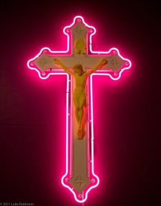 For some reason, I find a pink neon crucifix kind of disrespectful to the moment it's supposed to depict. Then again, I suppose anything goes in Vegas.
