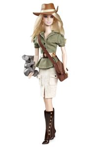 The only way you can tell she's Australian is that she has a koala wrapped around her arm. Other than that, she can pass for either Indiana Jones Adventure Barbie or High Fashion Texas Cowgirl Barbie.