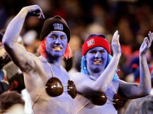 Now I'm sure they're wearing those to cover their man boobs. But I'm not positive. Still, the blue paint doesn't seem to do any favors.
