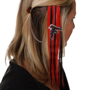 Yeah, I'm sure want to support my team by wearing NFL licensed hair extensions. Sure it might look cool on some women but utterly ridiculous on others.
