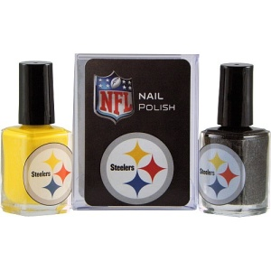 Now NFL themed nail polish. Do you think women will find it necessary to paint their nails the team colors? I think not.