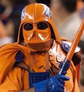 Better play well, Peyton Manning. Or else this orange Darth Vader will force choke you like you wouldn't believe. And let me tell you, you don't want that Peyton. You really don't.