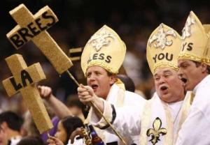 Now I'm sure these aren't bishops or ordained clergy. But at a game like this, they'll do. Not sure if the Saints are a worthy enough team to bless after Bountygate though.