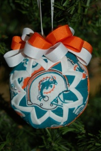 Now this is a stuffed ornament with ribbons and cloth. Yet, at least it's not a snowman because we all know that Miami doesn't see a single snowflake all year round. Well, unless you count their dolphin mascot from Ace Ventura.