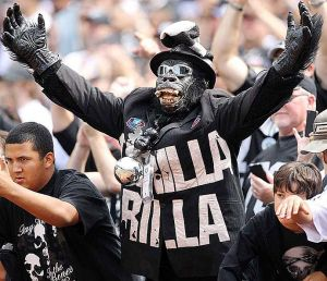Now I've posted pictures of a lot of Raiders fans on here so far. But I couldn't miss this guy since he's known to be a character among Oakland Raiders fans.
