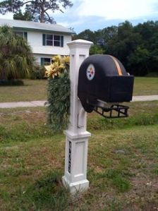 Now this is interesting. Clever how it has a helmet design. However, let's hope this person lives in a safe neighborhood because I'm sure this mailbox is made from plastic. And let's just say, plastic mailboxes don't do well against vandalism.