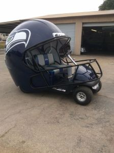 Now I know the NFL sells a lot of golf stuff. But I think this golf cart is ridiculous. Seriously, I'm sure only rich golf fans could even buy this.