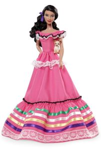 Now Mexican Barbie is clad in a pink dress striped with lace and ribbons. Of course, I wonder if there's a Mexican Ken as well. Then again, he might be dressed as a more stereotypical bandito.