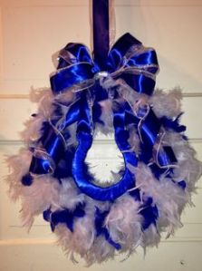 Now this is quite flashy for NFL craft projects. However, you can tell this was made from a hanger because it doesn't look quite round. But, hey, what can you do.