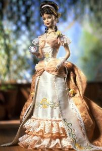 They have a lot of Victorian fashion dolls. This fashion is from the 1870s and 1880s since it features the bustle. It was supposed to enhance women's rear ends.
