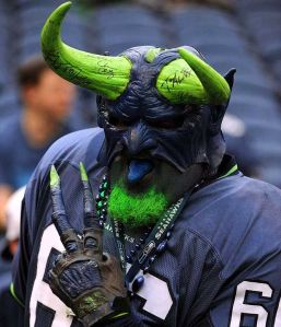 Yes, he may be an evil blue monster with green horns. But when the Seahawks are in town, he still feels the need to turn up to show his support.