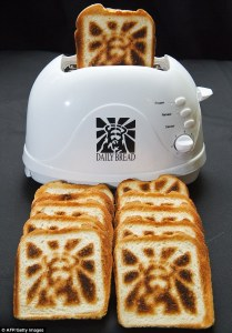 Now this is just genius. After all, we've heard all sorts of things about Christ appearing on toasted bread. Maybe people should take advantage of this.