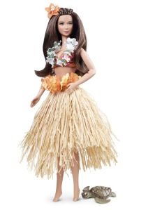 Nothing says Hawaii than a flower lei and a grass hula skirt. Comes with her own sea turtle. Hope the volcano doesn't blow.