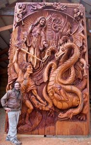 Now this might be a contemporary religious subject. But the wood work in this is awesome. Just look at the details here.