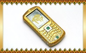 Yes, this is is a Buddha phone. It has jade for a video button as well as Buddhist symbols on its edges. Yeah, it's kind of over the top for a faith founded by a guy who preached moderation.