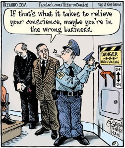 Yes, this is a funny cartoon from Bizarro, a favorite comic of mine. However, being an executioner isn't a nice job since they tend to suffer from PTSD from having to kill. So there's no reason why any correction worker should risk their mental health over revenge.