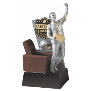 I may not get fantasy football or have any interest in it. But I really do like this trophy since I find it so amusingly appropriate. Yeah, the happy guy standing out of his armchair with his laptop is priceless.