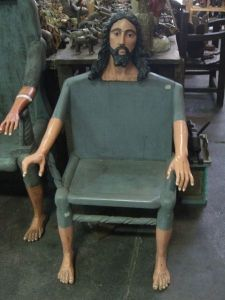 Okay, I really don't want to sit on Jesus's lap. Especially if it's in a chair like this that doesn't look very comfortable. And it's rather freaky.