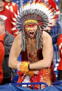 Look, I admire this guy's team spirit but I'm not sure that dressing up in Indian attire is a good way to show love for his team. Now I know naming your team the Chiefs isn't as bad as the Redskins, but still. Kind of racist and offensive.