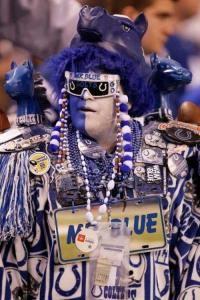 And yes, Mr. Blue seems to live up to his name. But all he cares about is being there to support his boys in blue, the Indianapolis Colts.