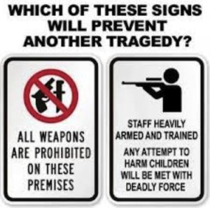 Many people think that trained armed guards would be able to prevent mass shootings since many take place in gun-free zones. However, they tend to forget about the mass shooting at Fort Hood. Still, gun-free zones may not prevent another tragedy, but I'll take my chances with them than in an armed society.