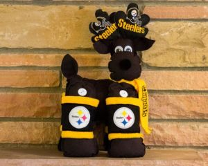 Well, it may not have a red nose. But it does have Steeler antlers, a Terrible Towel scarf, and Steeler leg bands.