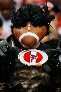 And it seems that his beak very closely resembles a football for some reason. Nevertheless, this is a clever fan costume. Wonder if he's a known character around Atlanta.