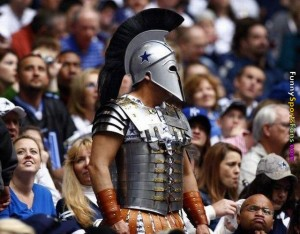 Of course, whether he's a Trojan or a Spartan warrior I don't have the slightest idea. I mean it's all Greek to me as they say.
