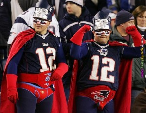 So much so that they decided to wear their underwear over their pants in true superhero fashion. And their favorite player seems to be none other than Tom Brady, you know, the guy who thinks he shouldn't be suspended for 4 games for deflated balls. I mean deflated footballs.