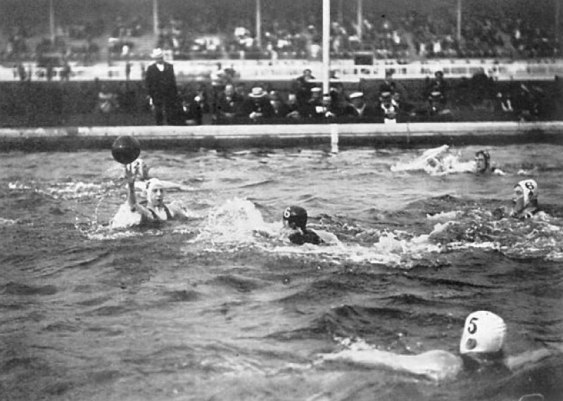 Water polo is often played in pools everywhere in the western world. However, early water polo was more like water football in which  players would try to carry a small ball to the pool edge. It was often said to erupt in fights with at least one player floating unconscious by the end of the game.