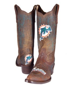 Now I'd understand the Dallas Cowboys having these for obvious reasons. But there are NFL licensed cowboy boots for practically every single team. And I'm not sure  if having cowboy boots is appropriate for the Miami Dolphins.