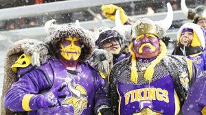 Now a KISS Vikings fan and a guy dressed as a Viking. Wonder how they thought of that. But at least one of them will certainly be warm.