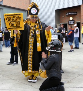 Well, I know that's not the Pope and I'm sure he's not even a priest. But still, he's a notable character among Steelers fans. And I couldn't do an NFL post without him.