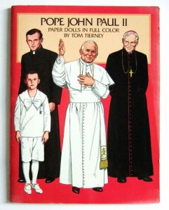 Okay, I'm sure no kid would want a paper doll book depicting the life and clothes of Pope John Paul II. Seriously, a Virgin Mary paper doll book would be more popular than this. At least she'd have a more diverse wardrobe.