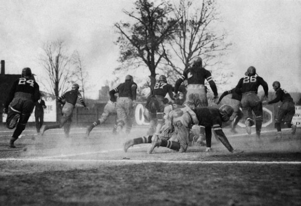 Football has become one of America's most popular sports. However, while it has never been a genteel sport, it was way more violent and injury inducing in the 19th century. Seriously, early football had 20 guys to a field and they were encouraged to score touchdowns through any means necessary.
