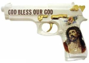 It's one of the best state of the art Christian weapons since the Holy Hand Grenade of Antioch. Still, I think this is more of a ceramic sculpture and might not work. Still, since it associates Christianity with firearms, I'm putting it on this post.