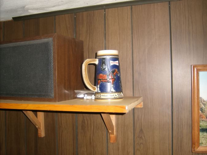 Here's a picture of a collectible Budweiser Beer Stein in the basement of my house. It's been at my home for as long as I can remember. But it's always been used for decoration. Guess it something that belonged to my dad.