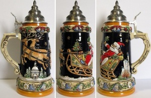 Yes, Christmas steins do exist. However, isn't Santa supposed to have like 8-9 reindeer pulling his sleigh. Then again, it's supposed to depict Germany and they might have a different tradition.