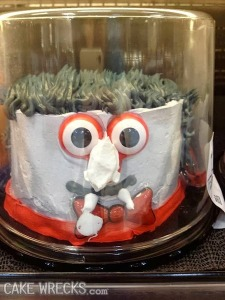 However, this isn't how you should do a vampire cake for Halloween. This vampire looks like he's  an embarrassing love child of the Count from Sesame Street. Seriously, it's too cute.