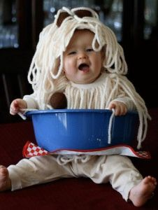 Hey, at least it's better than the baby having spaghetti and meatballs all over them. Still, so cute.