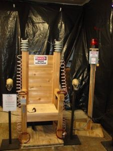 This isn't a real, working electric chair. Just a piece of Halloween decoration. Still, I have to admit, it's very well made.