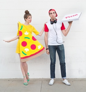 Now this is a cute costume for a couple. However, she could just as easily go as a well endowed college coed or horny housewife. Or she could go as a serial killer. You know what they say about pizza boys in porn and crime shows.