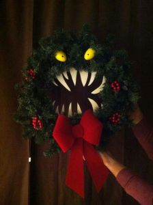 Now this is a real monster wreath. For those who really love The Nightmare Before Christmas, this also makes a great yuletide decoration as well.