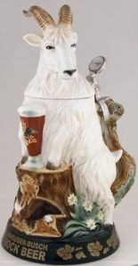 Ironically, he doesn't seem to be drinking from a stein here. Also, he's crouched over on a stump. Still, quite tacky.